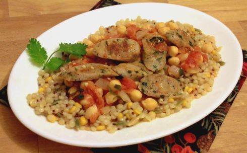 Sausage and Garbanzo Beans with Tomatoes in a Spicy Herb Sauce