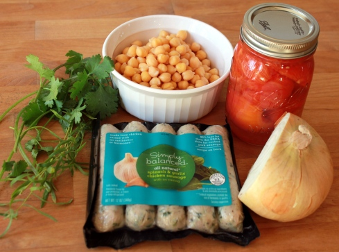 Sausage Tomato Herbed Spiced Garbanzo Bean Skillet Ingredients