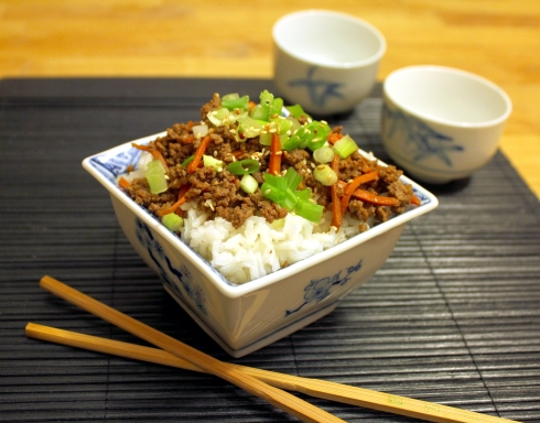 Spicy Korean Beef with Carrots and Rice