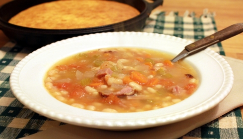Navy Bean Soup with Ham and Cornbread
