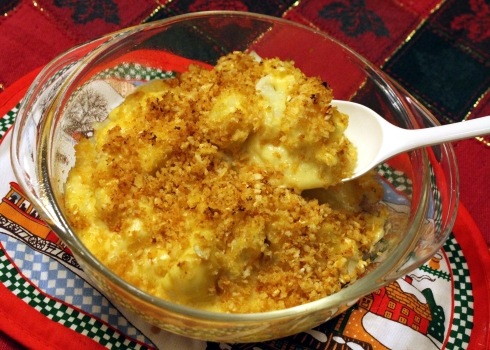 Cheesy Cauliflower with Cauliflower Panko Topping