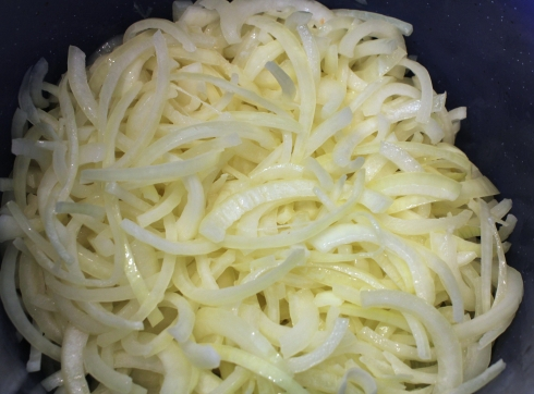 Pot of Sliced Onions
