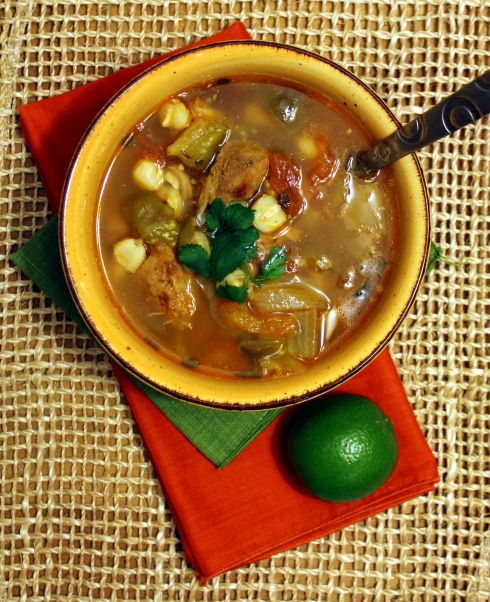 Carnitas Soup with Tomatillos and Chipotle Pepper