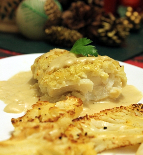 Cauliflower Crusted Cod with a Raspberry Brie Cheese Sauce