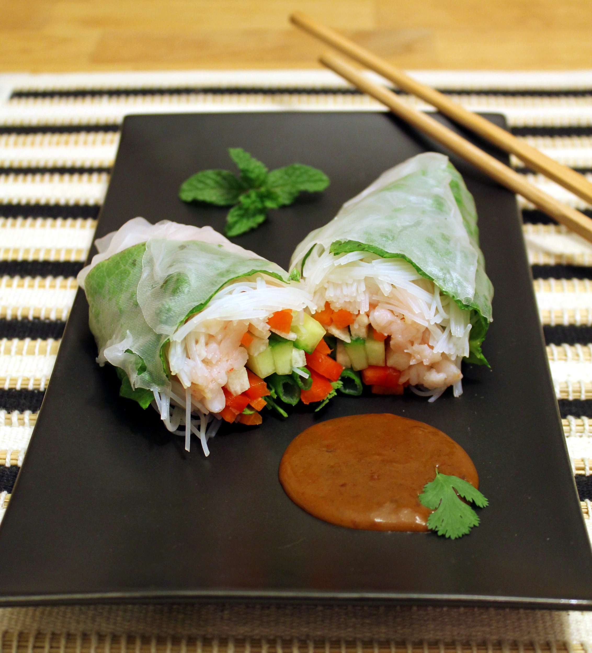 Shrimp and Vegetable Spring Rolls with a Spicy Peanut Sauce