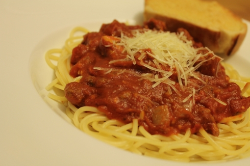 Spicy Spaghetti Sauce and Noodles