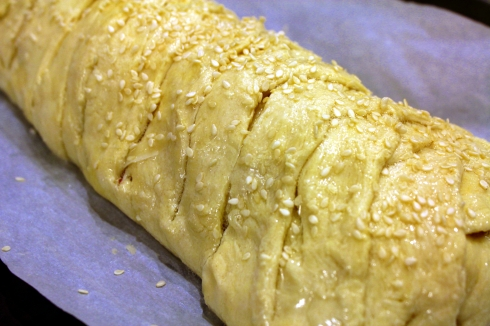 Crescent Pastry Dough with Egg Wash and Sesame Seeds