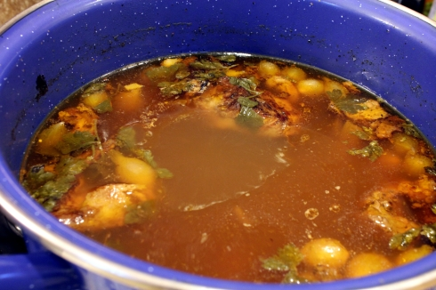 Simmering Beef Broth