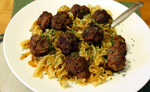 Seared Baked Meatballs with Brown Gravy and Pasta