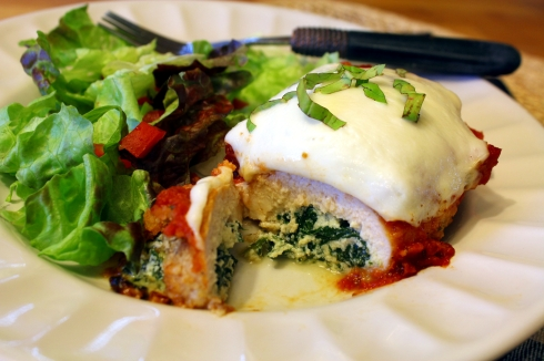 Spinach-Stuffed Chicken and Mozzarella Rollups