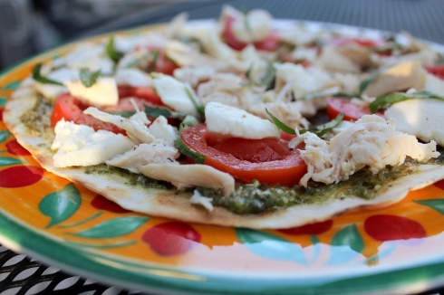 Pesto Chicken Margherita Pizza Ready to Grill