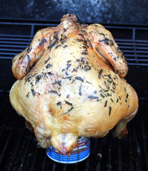 Tarragon and Lemon Beer-Butt Chicken