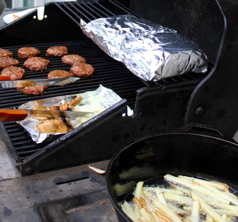 Burger Slider Meal on Grill