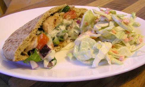 Greek Chicken Pocket Sandwiches with Tzatziki and Cole Slaw