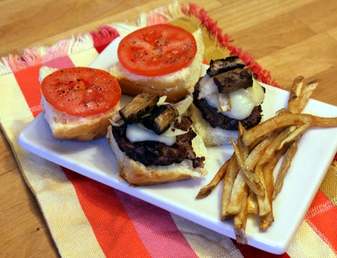 Grilled Burger Sliders and Fries Meal