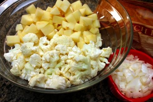 Chopped Onion, Cauliflower, and Potatoes