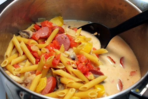 Pasta Ready to Simmer in the Creamy Sauce