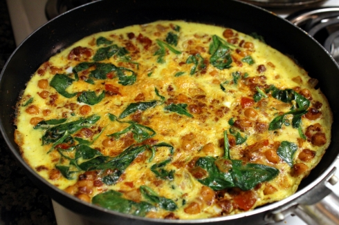 Garbanzo Bean Spinach and Spicy Chorizo Frittata
