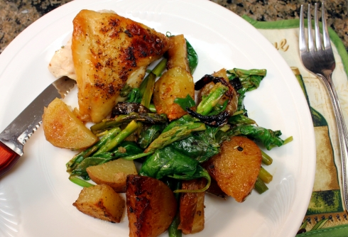 Pan Roasted Lemon Chicken with Potatoes Asparagus and Spinach