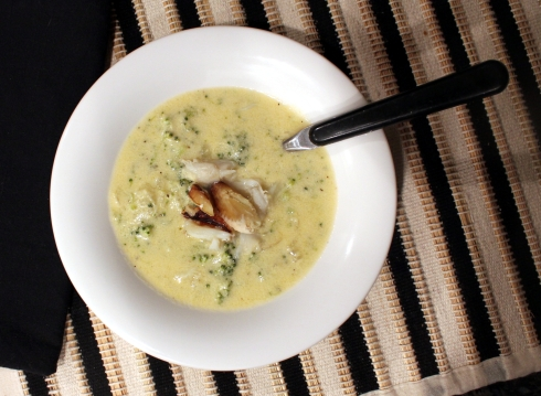 Broccoli Cheddar Soup with Crab