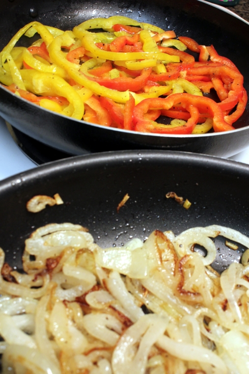 Cooking the Onions and Peppers