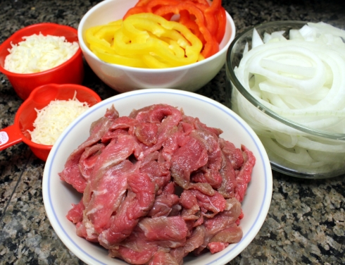Sliced and Grated Cheese Steak Ingredients