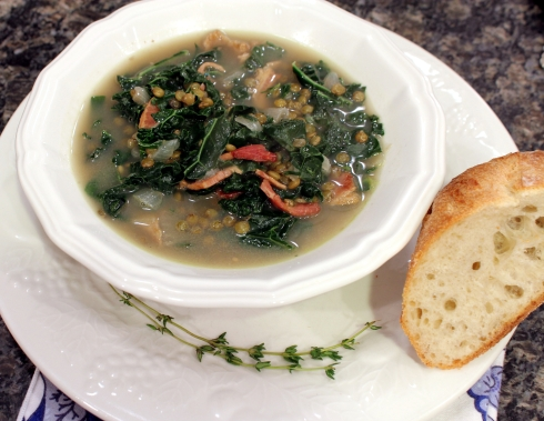 Kale Lentil and Bacon Soup