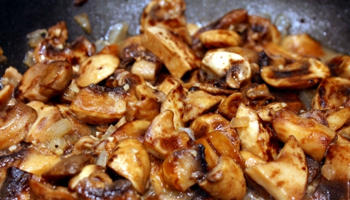 Sauteing the Mushrooms and Onions