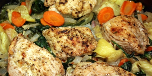One-Pot Roasted Chicken with Spinach and Artichokes