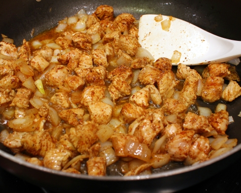 Browning the Chicken and Onions