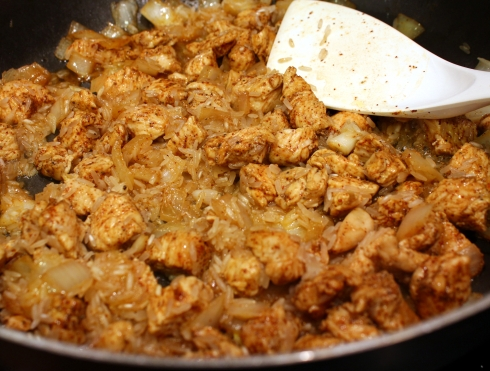 Sauteeing the Rice with Chicken