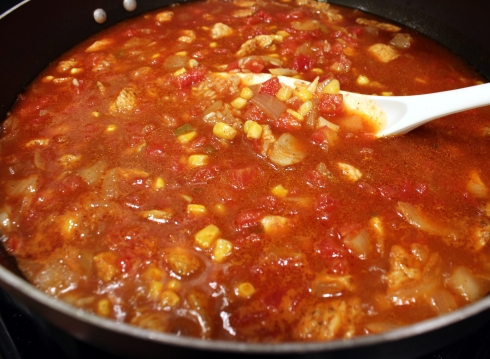 Simmering the Enchilada Misture