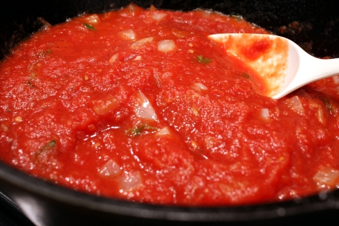 Simmering the Rancheros Sauce