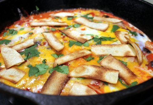 Skillet Huevos Rancheros with Homemade Tortilla Strips