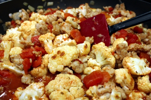 Cauliflower Added to Mixture