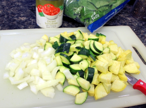 Chopped Onion, Zucchini, and Squash
