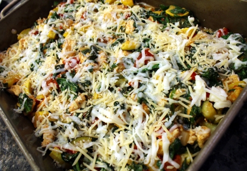 Creamy Squash Spinach and Chicken Polenta Casserole Ready to Bake