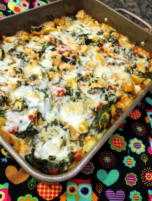 Creamy Squash Spinach and Chicken Polenta Casserole