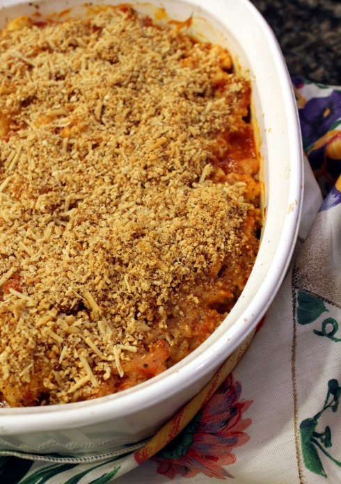Roasted Cauliflower and Chicken Sausage Casserole