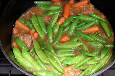 Snap Peas Added to the Pot