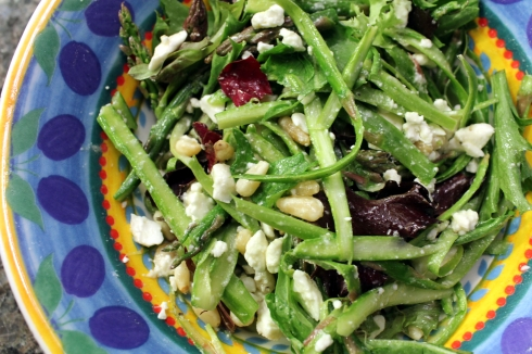 Shaved Asparagus Salad with Feta and Peas