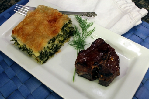 Spanakopita and Lamb Chop Dinner