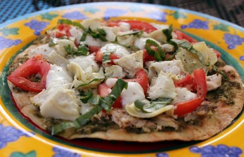 Fresh Grilled Chicken, Artichoke and Pesto, Tortilla Pizza