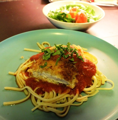 Fired Chicken Parmesan over Linguini. Doncha just love my Melamine Dinnerware?
