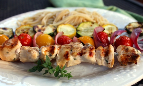 Greek-Marinated Chicken and Veggie Kabobs