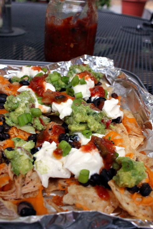 Chunky Guacamole Grilled Nachos with Chicken