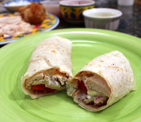 Greek Rotisserie Chicken Wraps