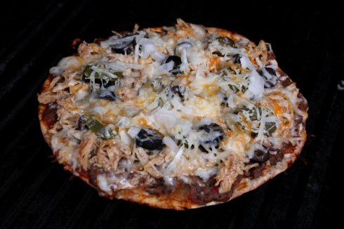 Grilling the Mexican Tortilla Pizza