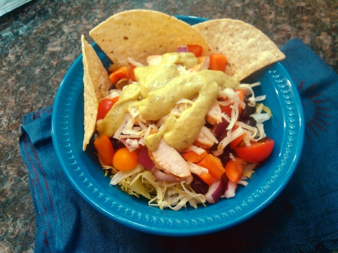 Southwest Taco Salad with Guacamole Dressing