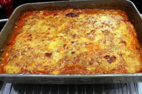Zucchini and Spinach Lasagna Out of the Oven